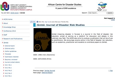 African Centre for Disaster Studies:  Jàmbá
