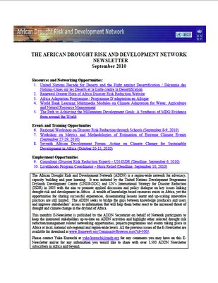 African Drought Risk and Development Network Newsletter September 2010