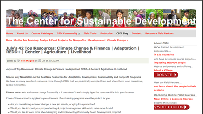 The Center for Sustainable Development -  July's 42 Top Resources: Climate Change & Finance | Adaptation | REDD+ | Gender | Agriculture | Livelihood