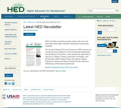 Higher Education for Development (HED) Newsletter