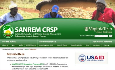 Sustainable Agriculture and Natural Resource Management (SANREM) CRSP