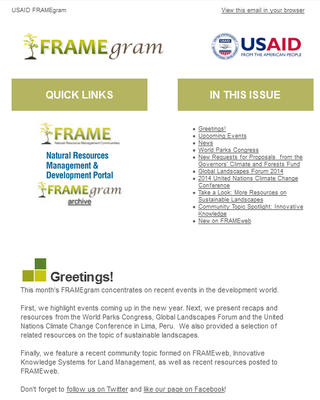 USAID FRAMEgram: A Focus on Sustainable Landscapes - December 29, 2014
