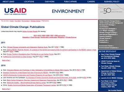 USAID Global Climate Change: Publications & Outreach