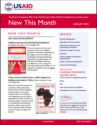 USAID Knowledge Services Center - New This Month: August 2014