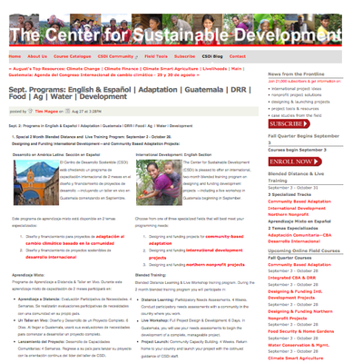 The Center for Sustainable Development: September Programs