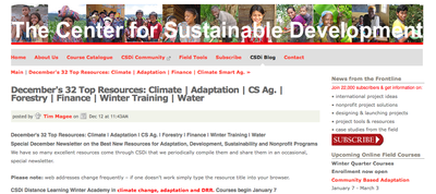 December's 32 Top Resources: Climate | Adaptation | CS Ag. | Forestry | Finance | Winter Training | Water - The Center for Sutainable Development