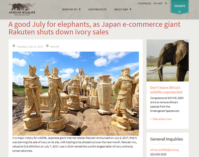 A Good July for Elephants, as Japan E-Commerce Giant Rakuten Shuts Down Ivory Sales