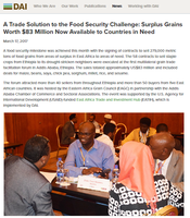 A Trade Solution to the Food Security Challenge: Surplus Grains Worth $83 Million Now Available to Countries in Need