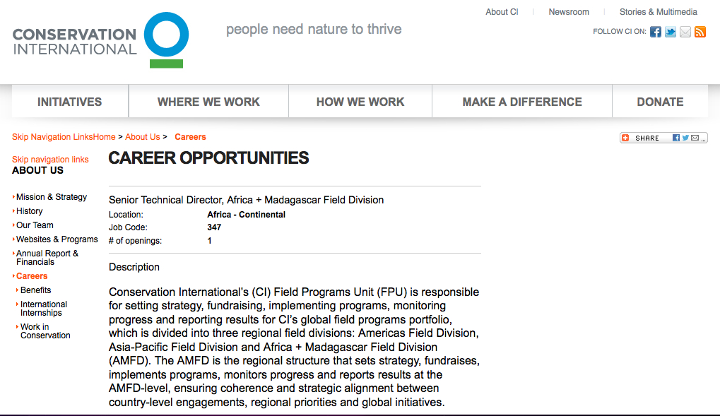 ABCG Jobs & Opportunites: Senior Technical Director, Africa + Madagascar Field Division