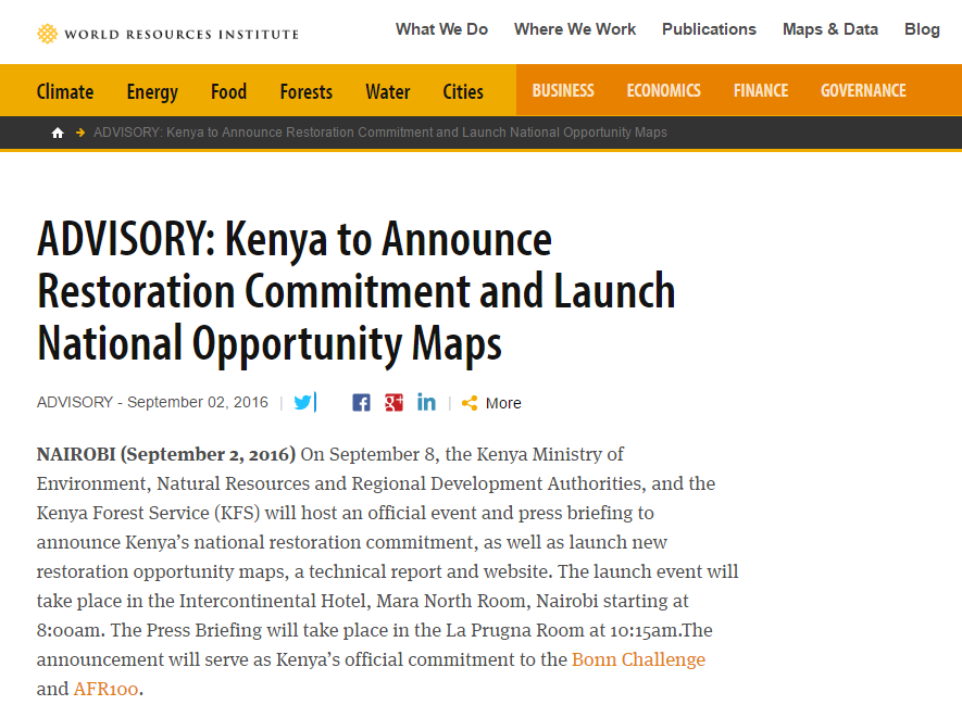 ADVISORY: Kenya to Announce Restoration Commitment and Launch National Opportunity Maps