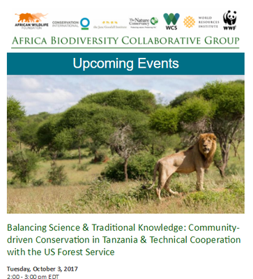 Africa Biodiversity Collaborative Group Upcoming Events October 2017