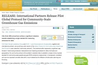International Partners Release Pilot Global Protocol for Community-Scale Greenhouse Gas Emissions