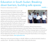 Education in South Sudan: Breaking down barriers, building safe spaces