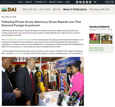 Following Private Sector Advocacy, Kenya Repeals Law That Deterred Foreign Investment