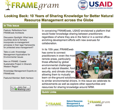USAID FRAMEgram: Looking Back: 10 Years of Sharing Knowledge for Better Natural Resource Management across the Globe