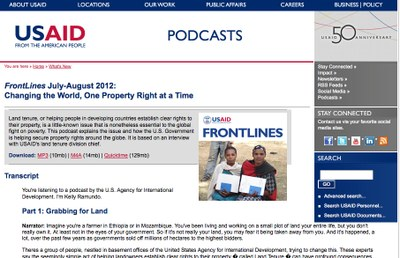FrontLines July-August 2012: Changing the World, One Property Right at a Time - Podcast