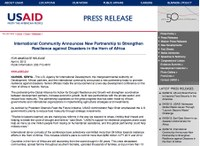 International Community Announces New Partnership to Strengthen Resilience against Disasters in the Horn of Africa