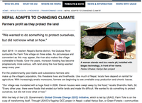 Nepal Adapts To Changing Climate: Farmers profit as they protect the land