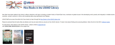New Books in the USAID Library