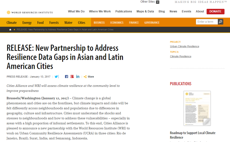 New Partnership to Address Resilience Data Gaps in Asian and Latin American Cities