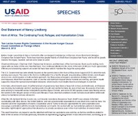 Oral Statement of Nancy Lindborg - Horn of Africa: The Continuing Food, Refugee, and Humanitarian Crisis