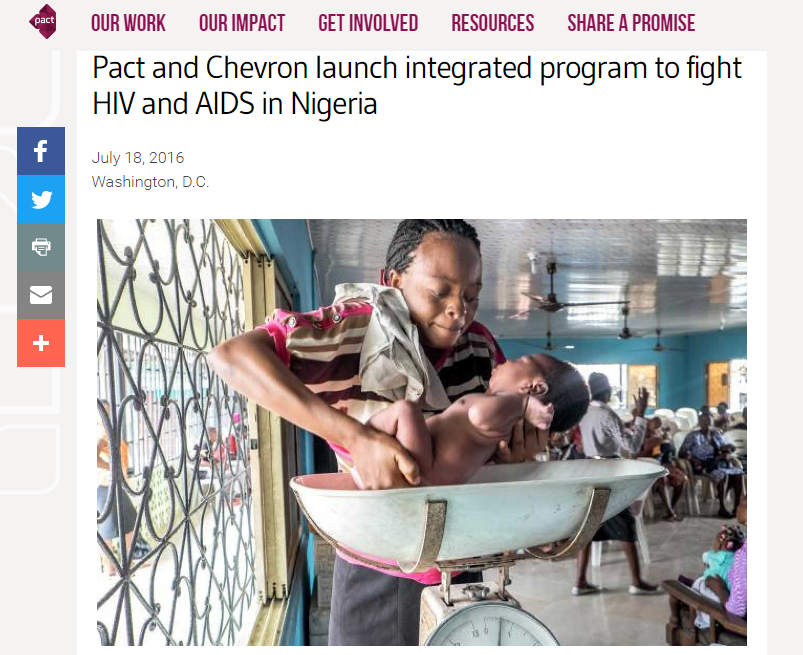 Pact and Chevron launch integrated program to fight HIV and AIDS in Nigeria