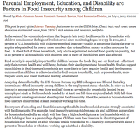Parental Employment, Education, and Disability are Factors in Food Insecurity among Children