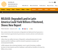 Release: Degraded Land in Latin America Could Yield Billions if Restored, Shows New Report
