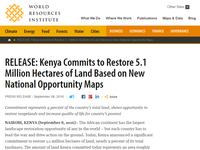 RELEASE: Kenya Commits to Restore 5.1 Million Hectares of Land Based on New National Opportunity Maps