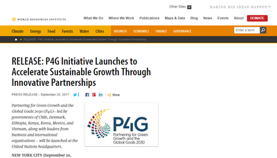 Release: P4G Initiative Launches to Accelerate Sustainable Growth Through Innovative Partnerships