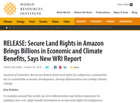 RELEASE: Secure Land Rights in Amazon Brings Billions in Economic and Climate Benefits, Says New WRI Report
