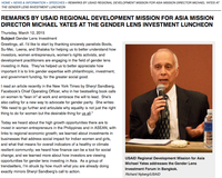 Remarks by USAID Regional Development Mission for Asia Mission Director Michael Yates at the Gender Lens Investment Luncheon