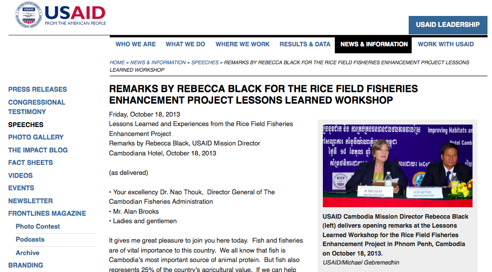 Remarks by Rebecca Black for the Rice Field Fisheries