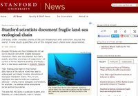 Stanford scientists document fragile land-sea ecological chain