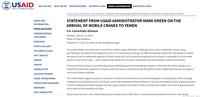 Statement From USAID Administrator Mark Green on the Arrival of Mobile Cranes to Yemen