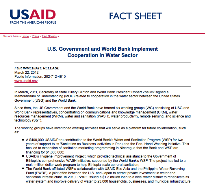 U.S. Government and World Bank Implement Cooperation in Water Sector