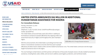 United States Announces $92 Million in Additional Humanitarian Assistance for Nigeria