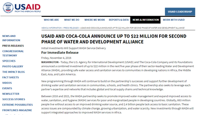 USAID and Coca-Cola Announce Up to $22 Million for Second Phase of Water and Development Alliance