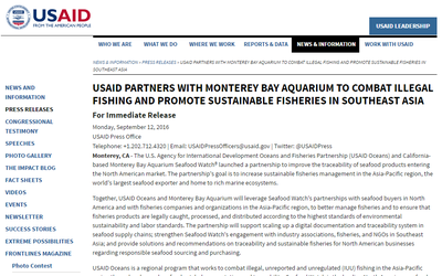 USAID Partners with Monterey Bay Aquarium to Combat Illegal Fishing and Promote Sustainable Fisheries in Southeast Asia