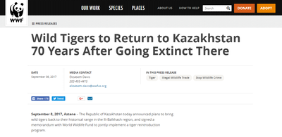 Wild Tigers to Return to Kazakhstan 70 Years After Going Extinct There